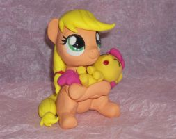 Filly Applejack with Baby Apple Bloom by MadPonyScientist