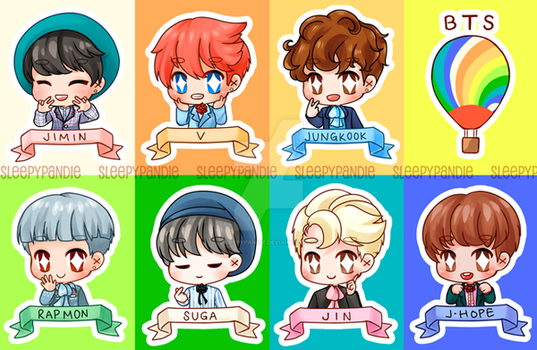 [ chibi ] bts stickers by sleepypandie