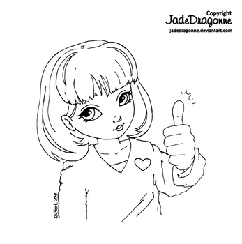 Thumbs up - Lineart by JadeDragonne