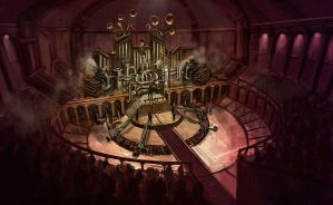 Steampunk concerthall by DrawingNightmare
