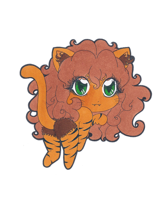 Nekogirl Chibi Lineart Colored by geekyfas