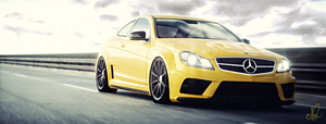 Merc C63 Amg Coupe on the straight
