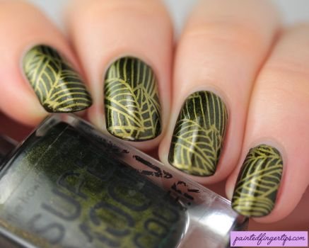 Green-goddess-with-golden-leafy-stamping by Painted-Fingertips