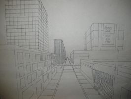 City street: 1-pt perspective by artisticTaurean