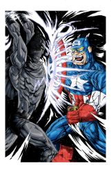 CAPTAIN AMERICA vs BLACK PANTHER print by drawhard