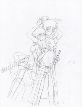 Adult Argo and Kiriko-chan Uncolored by Yang-Kudo