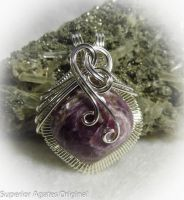 Russian Charoite Wire wrapped Pendant by superioragates