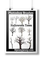 Free Halloween Trees Photoshop Brushes by ibjennyjenny