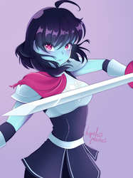 If DELTARUNE was ANIME | Kris Fanart + Speedpaint by HopelessPeaches