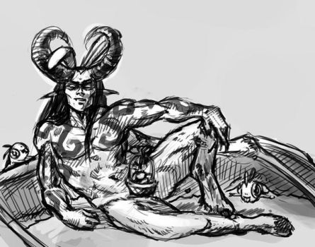 Sexy Easter Bunny Illidan with Murlocs - Sketch by LaurenWalsh
