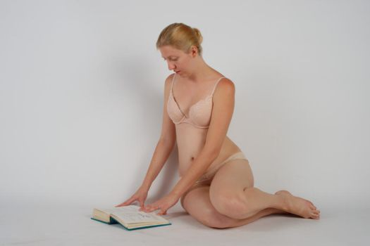 Body Reference - Sitting - Open Book On Floor by Danika-Stock