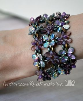 Purple and Opal Glass Flower Bracelet by AlterDoll