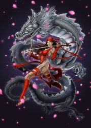 Elektra with dragon by daxiong