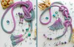 Silver-lilac necklace (2 pair of brushes)