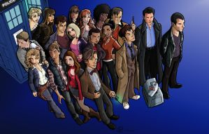 Three Doctors and Their Companions-Coloured by Louloucatmom