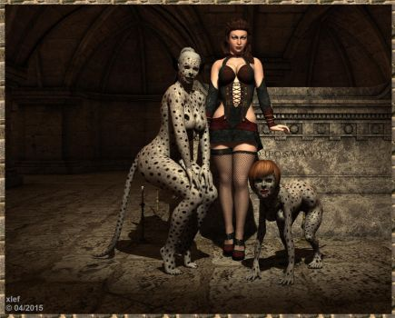 The Mistress and Her Dogs by xlef