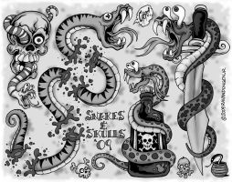 Snakes and Skulls blk and grey by MonsterInk