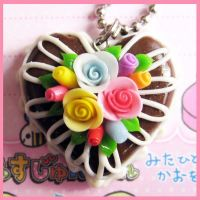 Chocolate Heart Cake Necklace by cherryboop