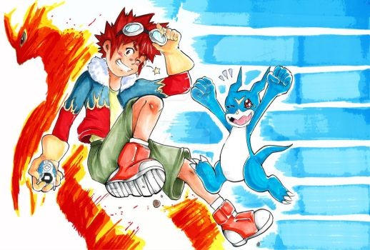 Davis and Veemon, Digimon 02 by Deadclub