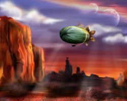 Airship over Mars by aliceazzo