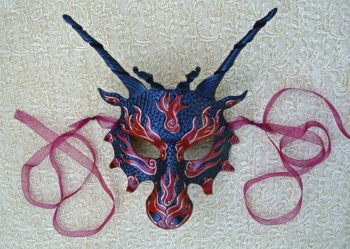 Red Flame Dragon Mask by merimask