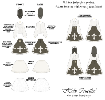 DRESS CONCEPT: Holy Crucifix | Nun Lolita Dress by InvaderIka