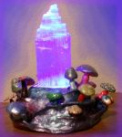 Selenite Stand with Mushrooms by Leucrota