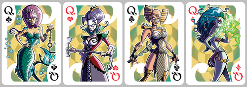 Inkjava Playing Cards [queens] by ivewhiz