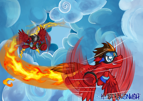 Commission: Two Red Hot Speed Demons by H-StallionWolf