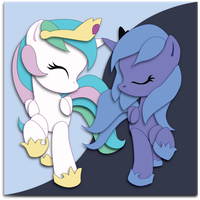 Commission: Filly Celestia and Luna mock-up by The-Paper-Pony