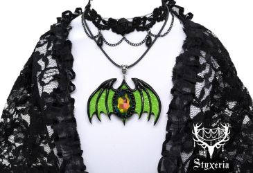 Halloween Edition Green Black Clay Bat Pendant 2 by Styxeria