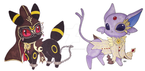 Rosa the Umbreon and Balder the Espeon by OceanSummoner13