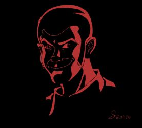 Shadowy Lupin portrait Black and Red by ShinRedDear