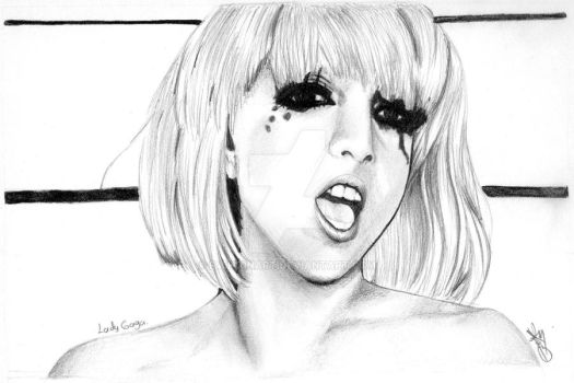 drawing Lady Gaga by F45H10NART