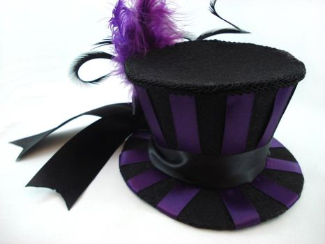 Deep Purple Striped Mini Top Hat Fascinator by angelyques