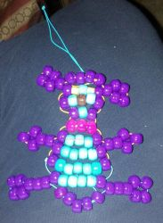 Bead Art: Purple and Aqua Teddy by SpellboundFox