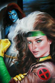 EVIL GENIUSES : MYSTIQUE/ROGUE PORTRAITS by FredIanParis