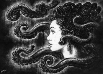 Black and White tentacles by spooky-X-monkey