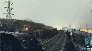 Freight Tracks in Storm Panoramic by KBeezie