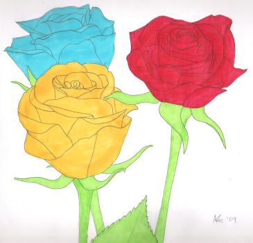 Coloured roses by Facial-Tic