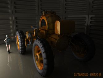 VEHICLE IN ARMORED HANGAR by CUTANGUS