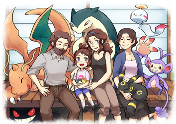 a crowded family picture by piyostoria