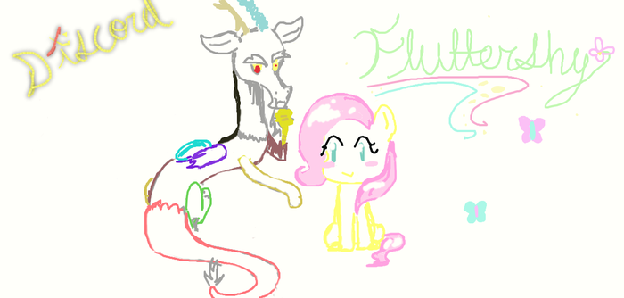 Discord and Fluttershy by nobodygirlxy
