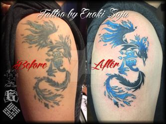 Before and After Restoration Tattoo by Enoki Soju by enokisoju