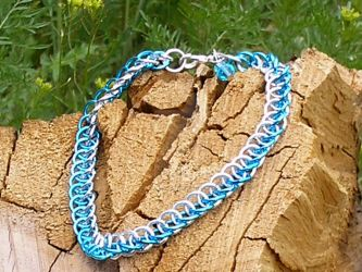 Turquoise Chainmail Anklet by Healersmoon