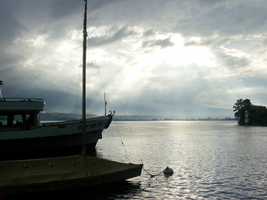 Ferry on Thunersee stormclouds clearing by CareldeWinter