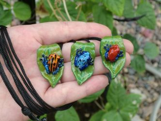 Custom Order Poison Dart Frog Necklaces by CaterpillarArts