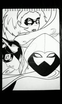 The Masks of Stephanie Brown (Linework) by iCandi-Art