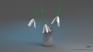 3d Flower : Glossy Galanthus Nivalis by kaichi1342