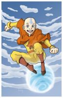Aang on his air scooter by RoboSpike